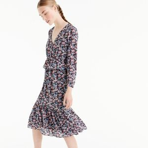 J. Crew Ruffle Trim Floral Print Long Sleeve Dress
